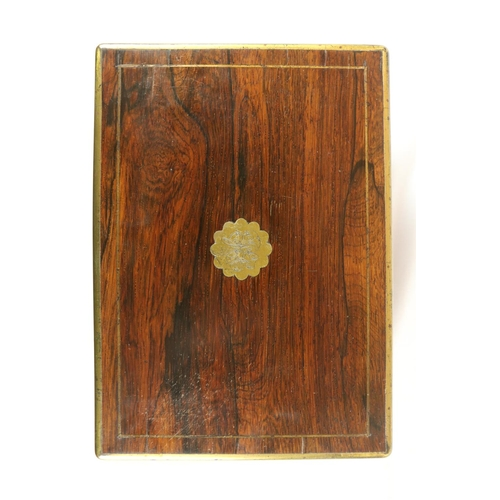 36 - <strong>A late Regency period brass inlaid rosewood Vanity / Jewellery Case,</strong> with fitted in...