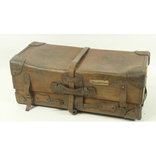 38 - <strong>A very heavy late 19th Century leather Travelling Trunk</strong>, with reinforced corners an...