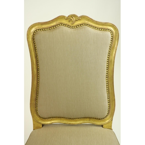 415 - A very important gilt Side Chair, by John Trotter, with cartouche shaped back around a padded panel ...