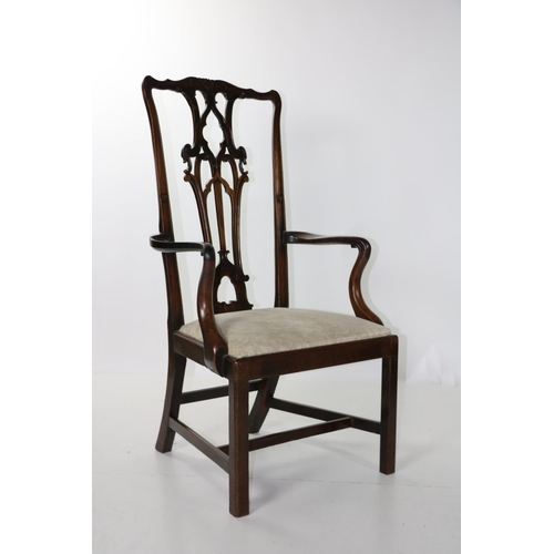 416 - A fine quality and early George III carved mahogany Master or high back Open Armchair, decorated in ...