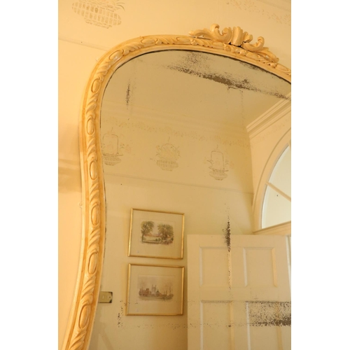 50 - <strong>A Victorian painted wooden Overmantle Mirror,</strong> of wasted balloon shape, over a moder...