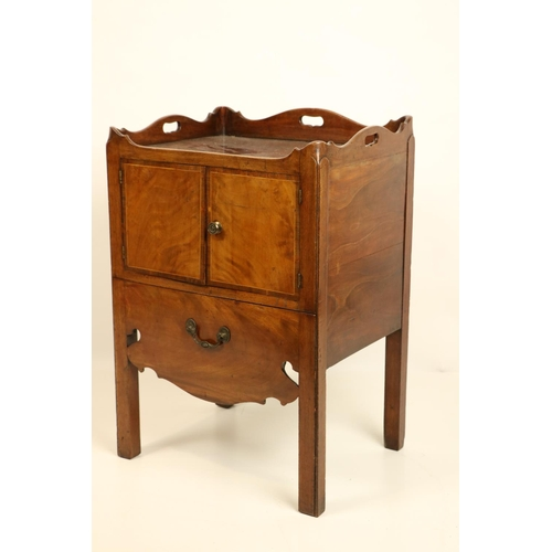 55 - <strong>A good George III inlaid mahogany tray top Bedside Cupboard,</strong> with three-quarter gal...