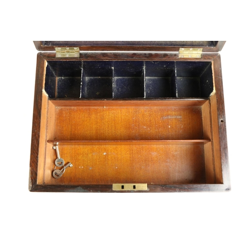 58 - <strong>A rosewood and mother-o-pearl inlaid Jewellery / Vanity Case,</strong> with slatted interior...