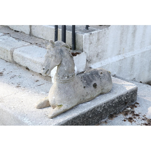 586 - A pair of attractive 19th Century sandstone Figures,of opposing reclining horses, each approx. 92cm...