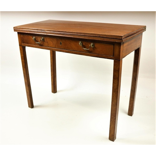 59 - <strong>A 19th Century Irish mahogany fold-over Tea Table,</strong> with frieze drawer and brass han...