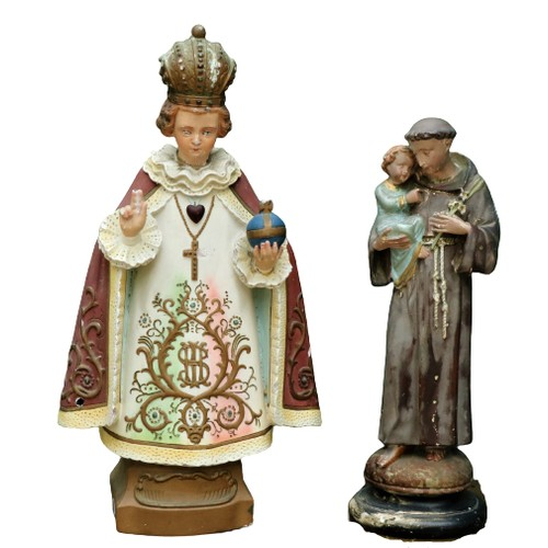 8 - <strong>A painted plaster Model,</strong> of the Child of Prague & St. Joseph. (2)...