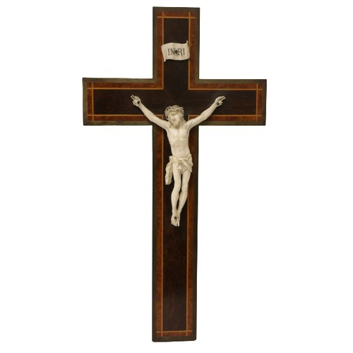 29 - <strong>A 19th Century brass mounted inlaid and crossbanded rosewood Crucifix,</strong> mounted with...