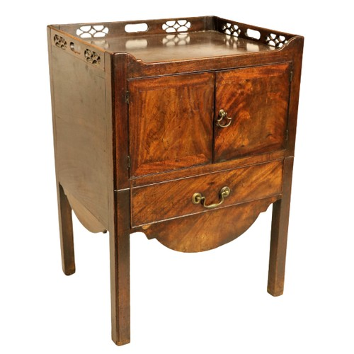 56 - <strong>A George III period mahogany tray top Bedside Cupboard,</strong> with three-quarter chinoise...