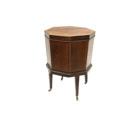 414 - An Irish 19th Centuryinlaid mahoganyoctagonalshaped Wine Cooler, with lift top and lead lined int...