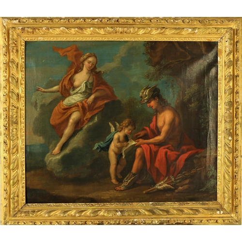 """G. de Roose - 18th Century Flemish""""Mercury Resting,"""" O.O.C., depicting Mercury talking to a Cherub with another semi-nude Lady, in a romantic landscape,."""" Signed lower left, approx. 64cms x 74cms (25"""" x 29"""") in contemporary gilt frame. (1)"""
