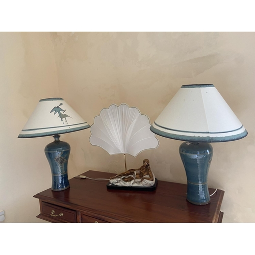 14 - A pair of baluster shaped stoneware Table Lamps, with matching shades and another unusual Table Lamp...