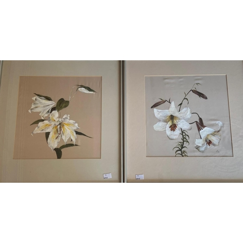 24 - Modern Irish School Two Still Life Flower Paintings on silk, 12'' (30cms) square. (2)...