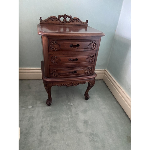 38 - An attractive pair of French style walnut three drawer Bedside Chests, on cabriole legs, 31'' x 20''...