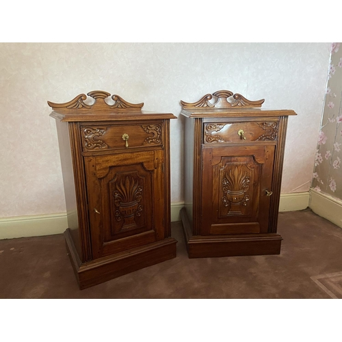 45 - A pair of Edwardian style carved mahogany Bedside Cupboards, each with frieze drawer and cupboard, 3...