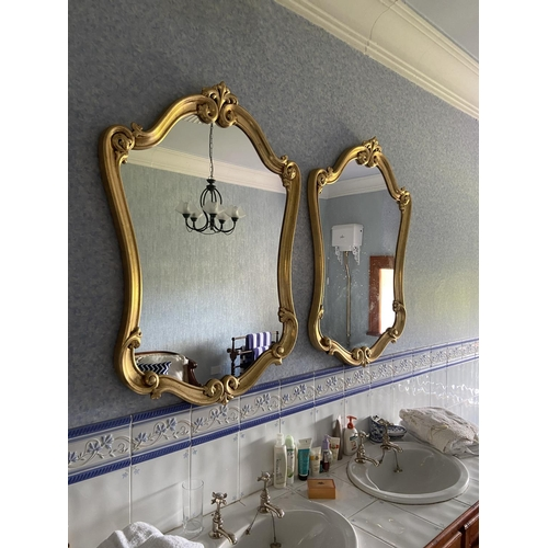 54 - A pair of cartouche shaped gilt Mirrors, each in scroll moulded frame, 43'' x 21'' (109cms x 79cms)....