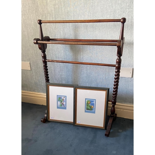 57 - A Victorian style beech five rail Towel Stand, with cruciform ends and spiral reeded supports, 29'' ...