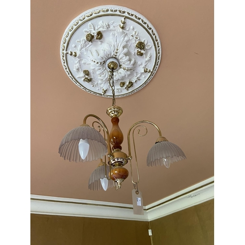 66 - WITHDRAWN...Two modern three branch Ceiling Lights. (2)...