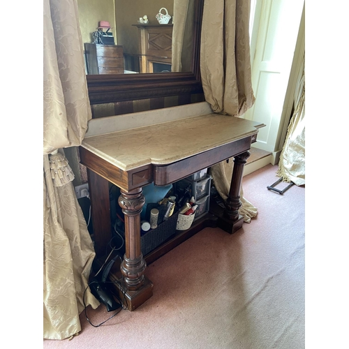 67 - WITHDRAWN ...A Victorian marble top mahogany Washstand, of breakfront outline with frieze drawer, on...