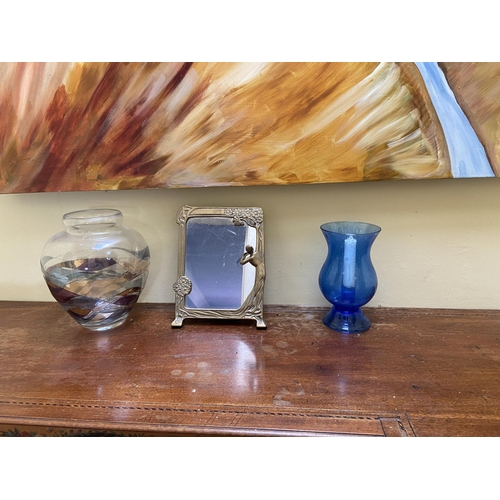 9 - A two handled Planter, with dried flowers, a tall stoneware Vase with floral decoration, a blue glas...