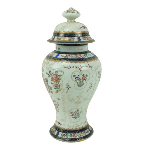 38 - A 19th Century chinoiserie style Samson armorialVase, decorated with flowers and slip decoration, o...