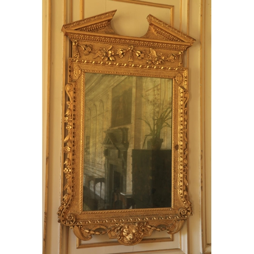 520 - A highly important pair of Irish George II carved giltwood and gesso Architectural Pier Mirrors, fir...