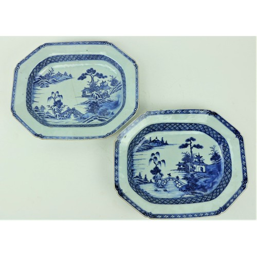 31 - A pair of 18th Century Chinese blue and white Nankin Serving Bowls, each of rectangular form with ca...