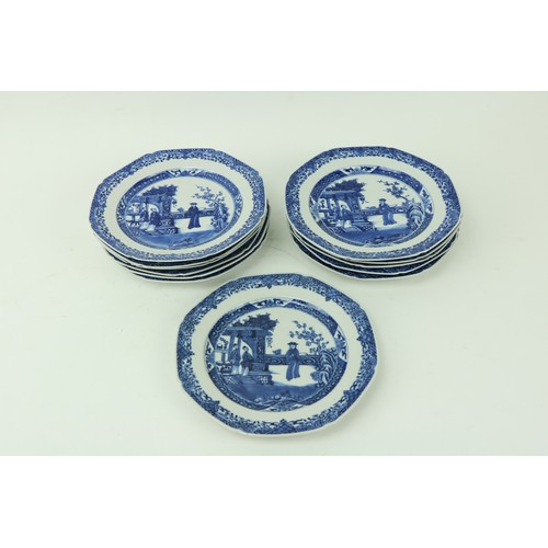 59 - A good set of 12 - 18th Century Chinese blue and white octagonal Plates, each with figures on a balc...