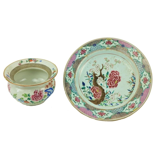 1 - A good 18th Century Chinese Famille Rose Dish, decorated with colourful flowers, 12