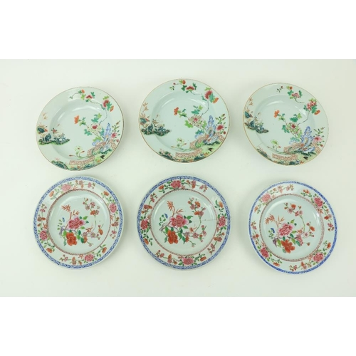 16 - A set of three 18th Century Famille Verte Chinese Bowls, each decorated with two cranes standing on ...
