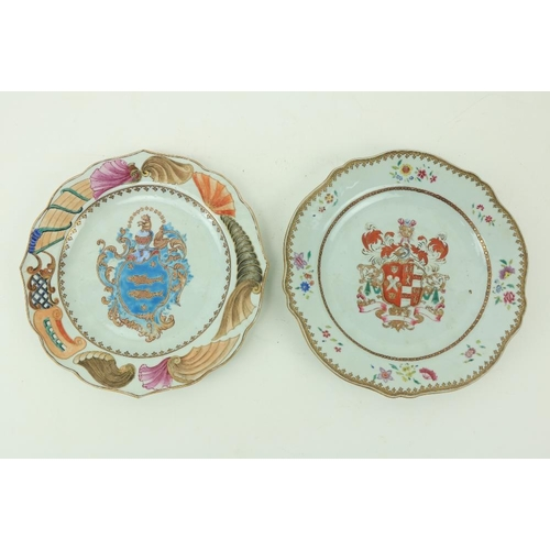 17 - Two similar 18th Century Chinese armorial Export Plates, each of circular serpentine form, one decor...