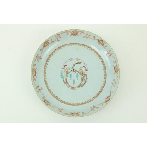 18 - An 18th Century Chinese Famille Rose Export Dish, with armorial crest, with motto 'Memte Manuoue Pre...