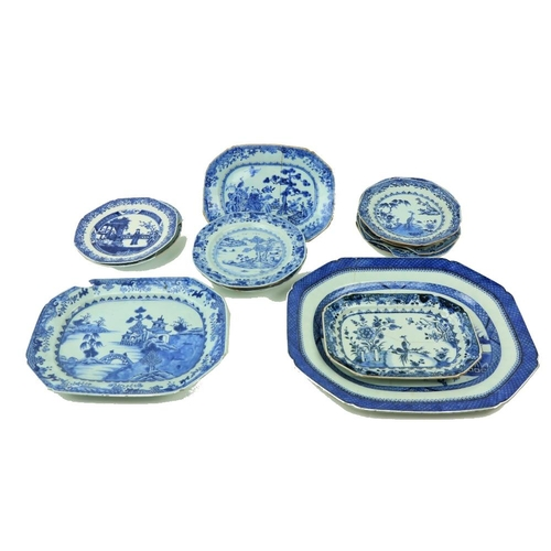 2 - A large blue and white Platter, of rectangular form, decorated with river landscape and pagodas, Xia...