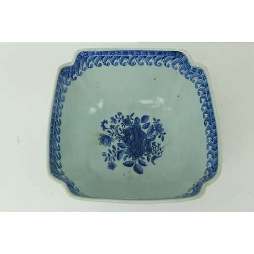 26 - A Chinese blue and white Nankin Bowl, of square form with re-entrant corners, decorated with floral ...