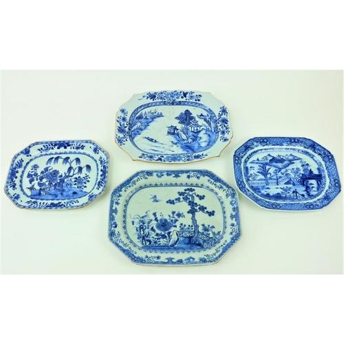 3 - A rectangular Chinese blue and white Xianczchi porcelain Platter, of rectangular serpentine form, de...