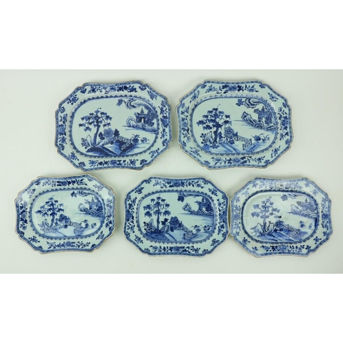 34 - A pair of 18th Century Nankin blue and white porcelain Platters, of shaped rectangular form, decorat...