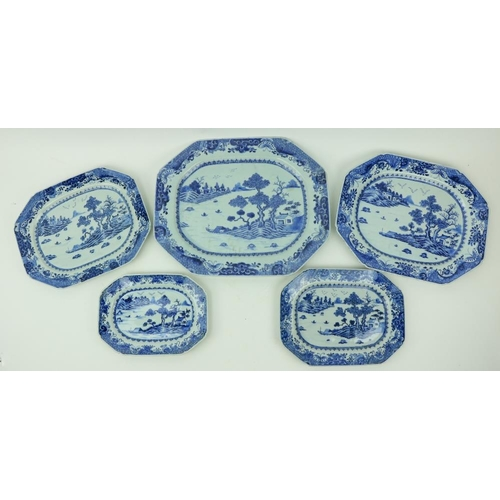 37 - A fine set of 5 rectangular graduating Nankin Chinese porcelain blue and whiteMeat Platters, decora...