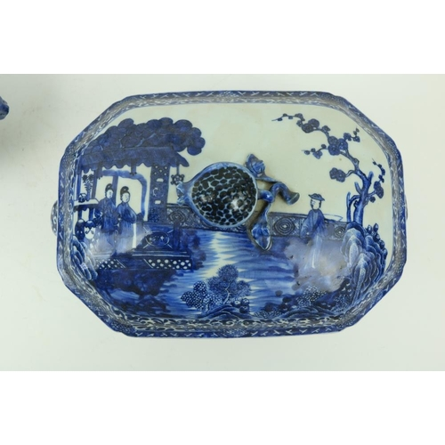 39 - A Chinese blue and white Nankin Tureen and Cover, decorated with lake scene, with pomegranate finial...