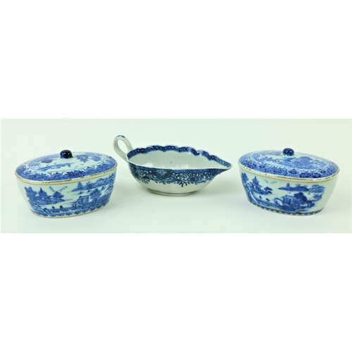 4 - A pair of Qianlong oval Chinese blue and white Sauce Tureens and Covers, decorated with figures in r...