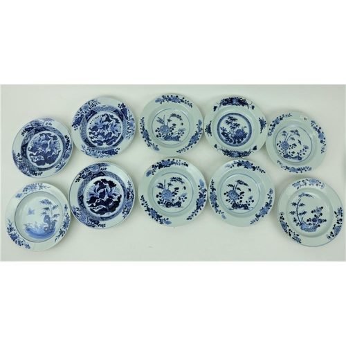 41 - A set of 10 similar Xiangshi blue and white porcelain Bowls, the majority with floral and foliage de...