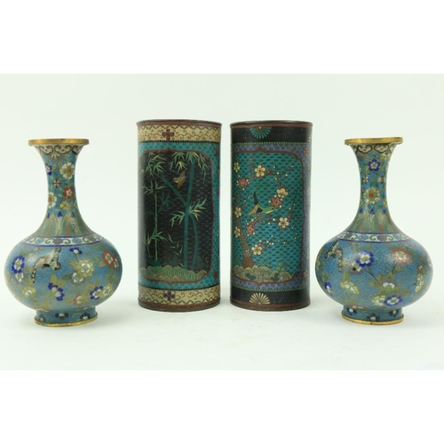 45 - A pair of Chinese cloisonnéenamel Vases, of cylindrical form, decorated with colourful flowers and ...