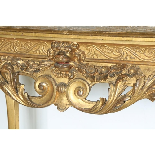 522 - A highly important pair of Irish carved giltwood and gesso Side Tables,c. 1738, each rectangular to...