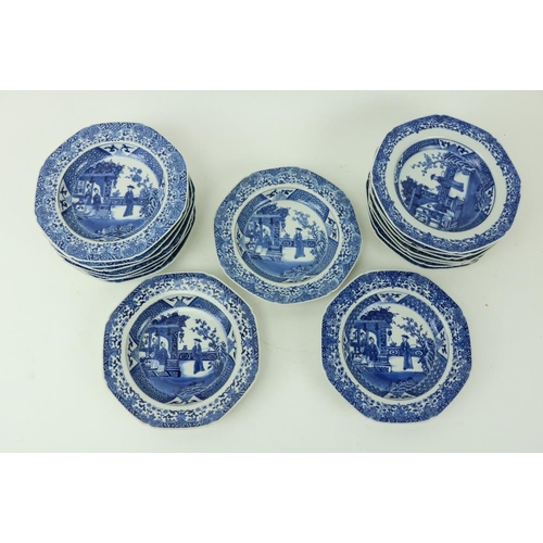 56 - A very good set of 17 - 18th Century blue and white Chinese Bowls, each of octagonal form and decora...