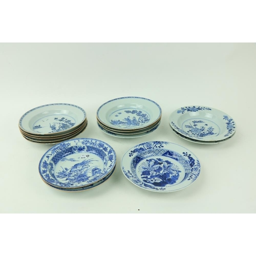58 - A set of 5 - 18th Century Chinese blue and white Pudding Bowls, each with a female and dog in a boat...