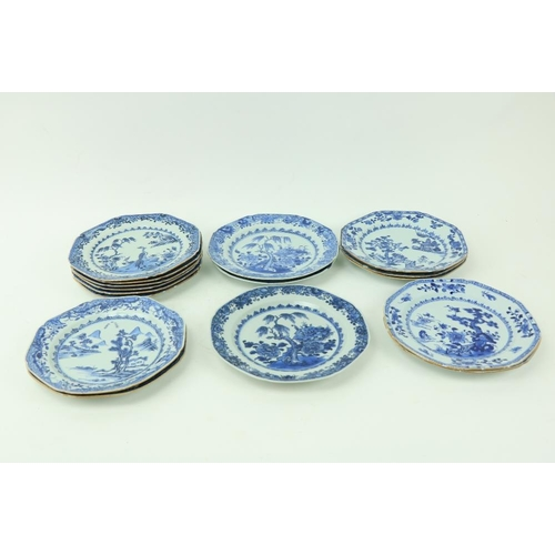60 - A set of 6 - 18th Century Chinese blue and white Phoenix Plates, each of octagonal form and 10 other...