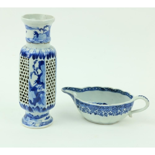 7 - A Chinese blue and white Xiangshi porcelain Sauceboat, the interior decorated with figures on a balc...