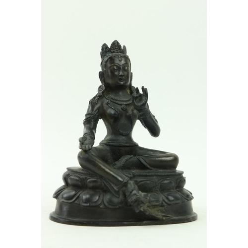 27 - A rare Old Tibetanbronze figure Tara Goddessof Enlightenment, Buddha Figure, with her right hand r...