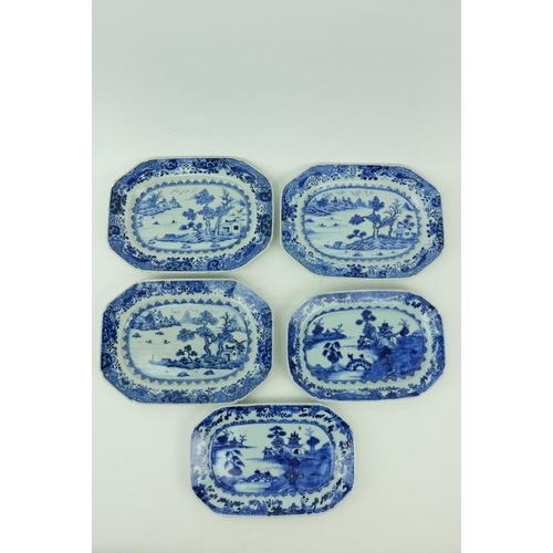 36 - A set of three 18th Century Nankin blue and white porcelain Platters, decorated with boat houses and...