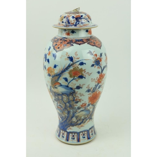 44 - A fine 18th Century Chinese Imari Vase and Cover, of baluster form, decorated with foliage, flowers ...