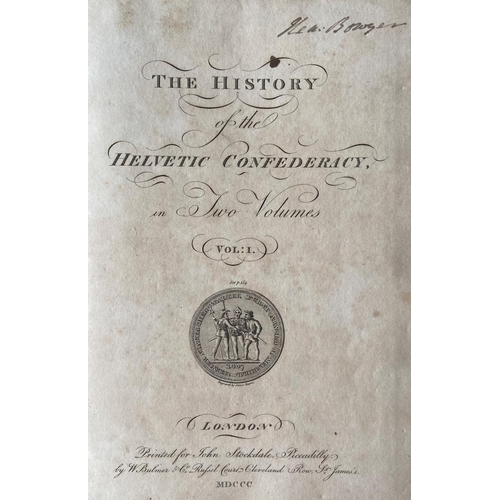 17 - Planta (J.)The History of the HelveticConfederacy,2 vols. in one, lg. 4to Lond. (J. Stockdale) 18...