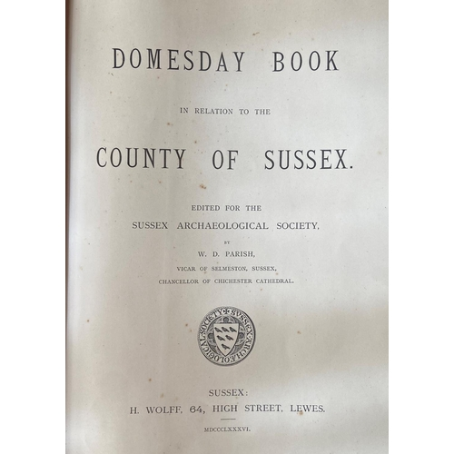 24 - Parrish (W.D.)ed.Domesday Book in relation to the County of Sussex, lg. folio Sussex (Lewes) 1886. ...